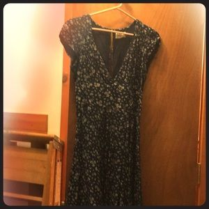 navy dress, Plunge neck cup sleeves open back